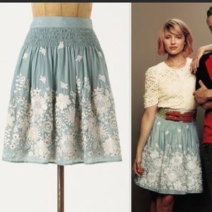 Anthropologie Blue Tassel embroidered skirt.